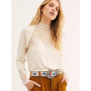 free people   mesh embroidered flowy top